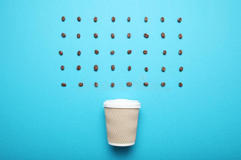 Morning takeaway aroma coffee in paper cup.  stock photos