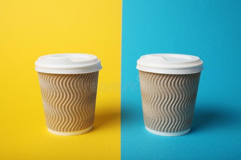 Morning takeaway aroma coffee in paper cup.  royalty free stock photography