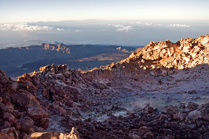 Morning on the Teide volcano in the Canaries, natural background, Spain, sunrise in the mountains. Morning on the Teide volcano in the Canaries, natural royalty free stock images