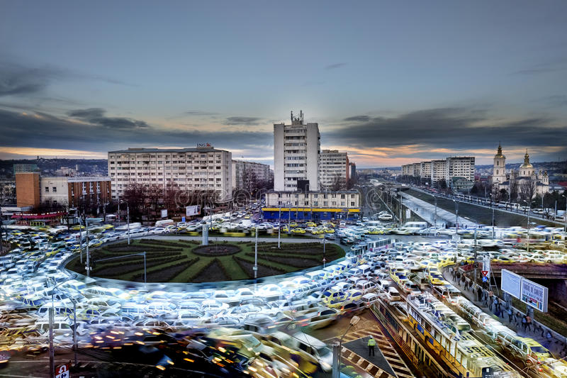 Morning rush hour traffic in the city royalty free stock photo