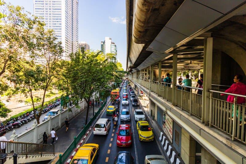 Morning traffic on the streets of Bangkok, Thailand, 2019 royalty free stock image
