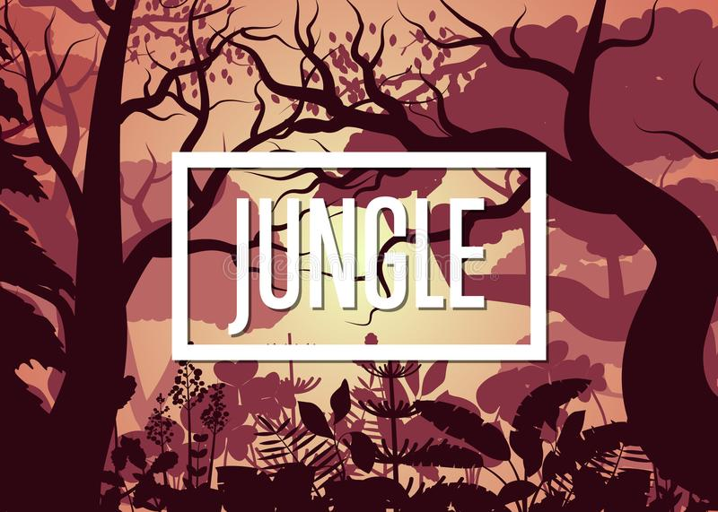 Morning tropical jungle with trees and bush stock illustration