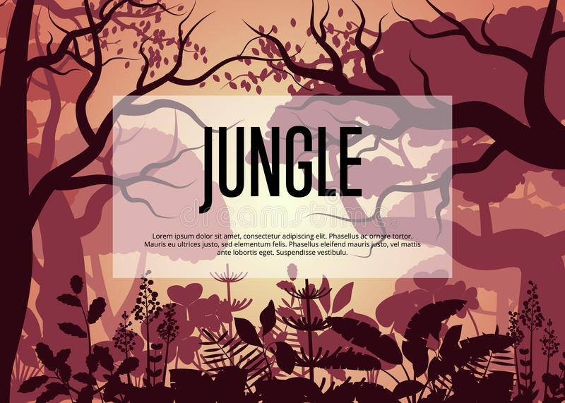 Morning tropical jungle vector background royalty free illustration