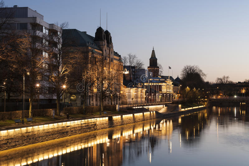 Morning in Turku. Turku city morning view in Finland stock photography