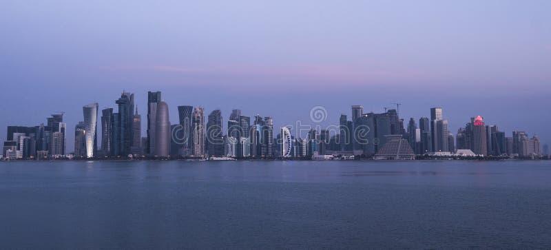 Morning Twilight Doha Skyline View. Qatar, Middle East. Persian Gulf stock image