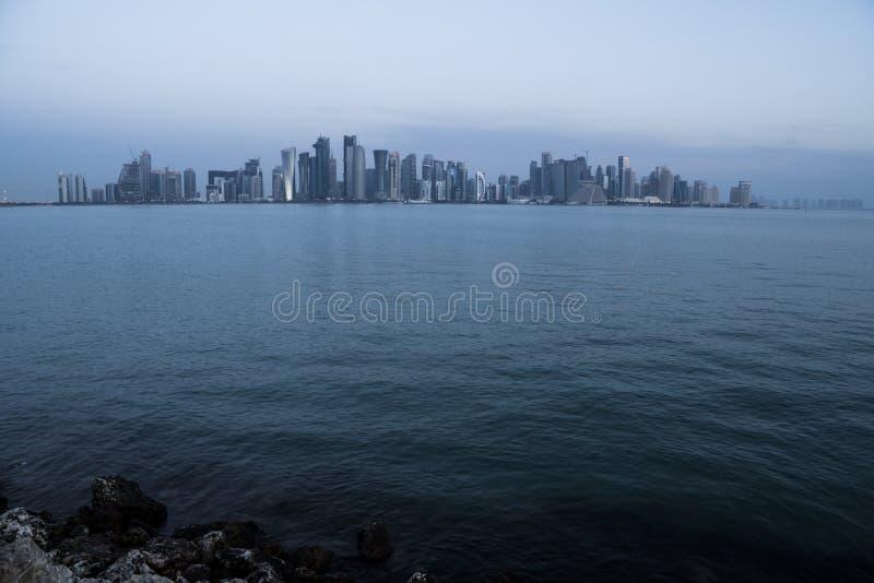 Morning Twilight Doha Skyline View. Qatar, Middle East. Persian Gulf stock photo