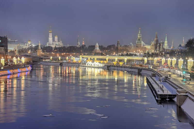 Morning Twilight Over the Festive Moscow in Winter Holidays stock image
