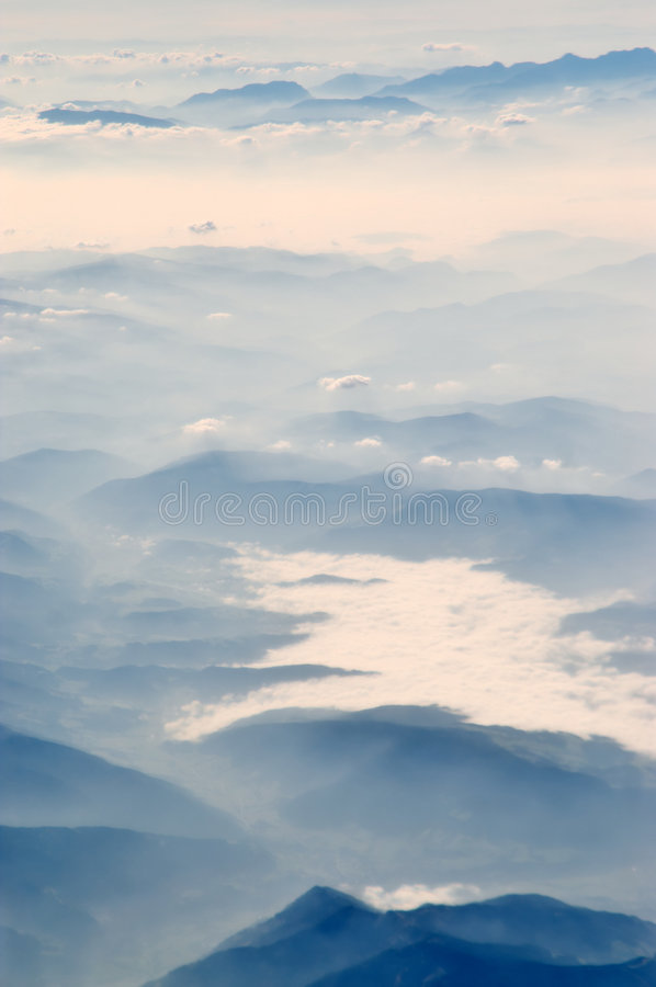 Morning vally mist. stock photo