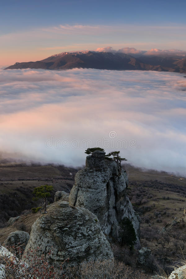 Morning veil. Magical morning in the valley of ghosts, Crimea stock photography