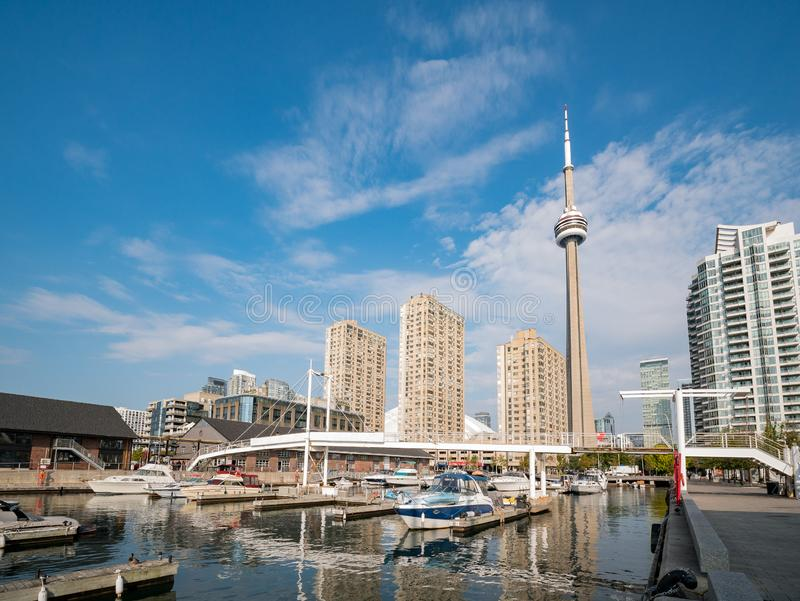 Morning view of the Amsterdam Bridge, ships and CN Tower. Toronto, OCT 5: Morning view of the Amsterdam Bridge, ships and CN Tower on OCT 5, 2018 at Tornoto royalty free stock image