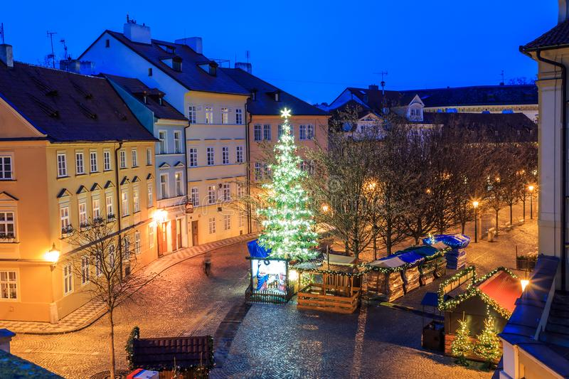 Morning view of the ancient streets of the city of Prague royalty free stock images