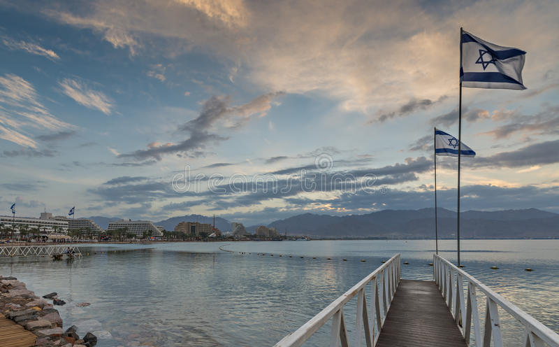 Morning view on the Aqaba gulf and resort hotels of Eilat, Israel. Eilat is a famous recreation and resort town on the Red Sea, Israel royalty free stock photography