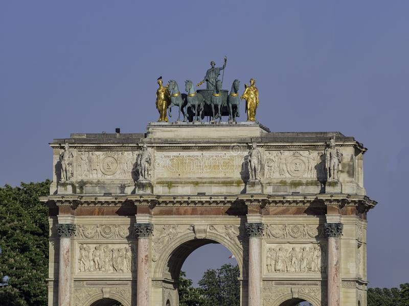 Morning view of the beautiful Arc de Triomphe du Carrousel at Paris. At Paris, France stock photos
