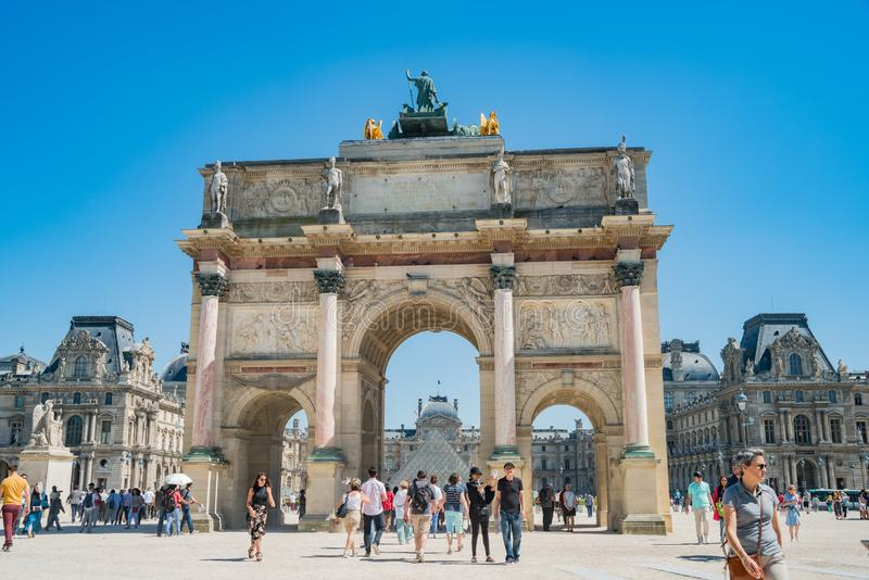 Morning view of the beautiful Arc de Triomphe du Carrousel at Paris. Paris, MAY 7: Morning view of the beautiful Arc de Triomphe du Carrousel at Paris on MAY 7 royalty free stock image