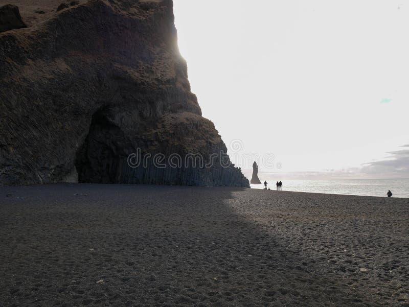 Morning view of the beautiful Reynisdrangar Sea Stacks. At Iceland stock photo