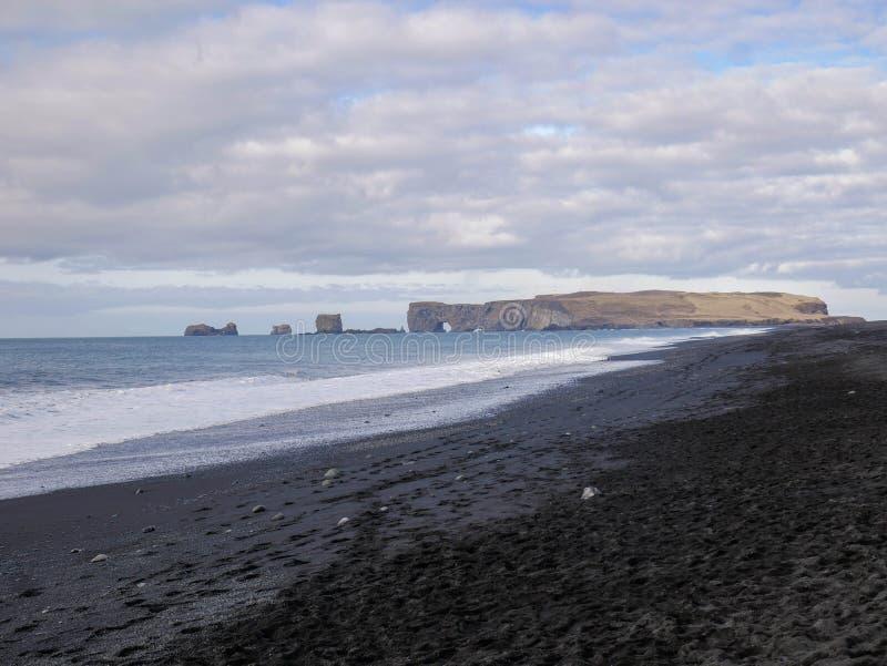 Morning view of the beautiful Reynisdrangar Sea Stacks. At Iceland stock photos