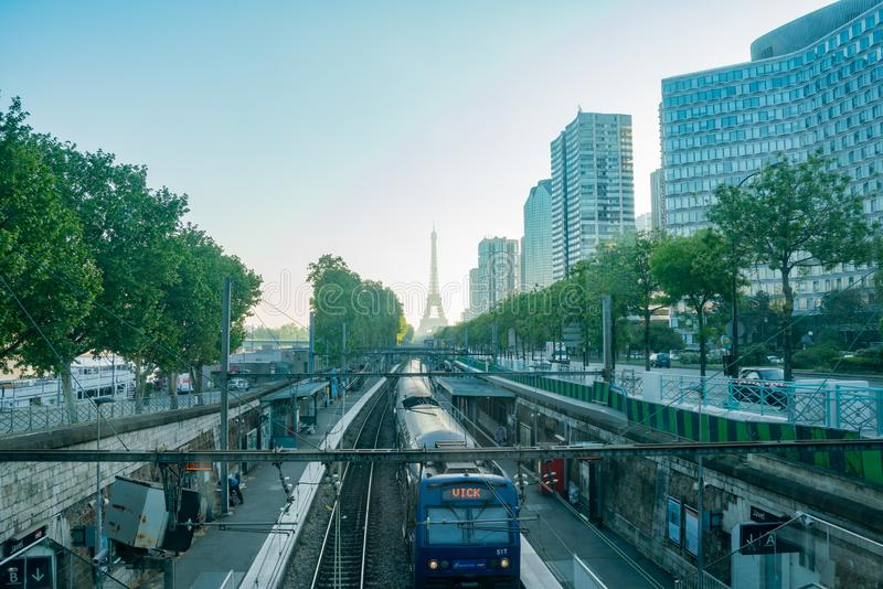 Morning view of the Champ de Mars - Tour Eiffel metro station with the famous Eiffel Tower. At Paris, France stock photo