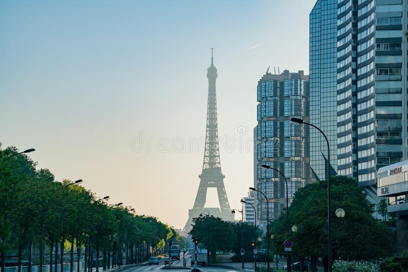 Morning view of the Champ de Mars - Tour Eiffel metro station with the famous Eiffel Tower. At Paris, France royalty free stock photography