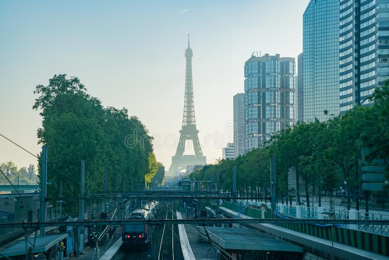 Morning view of the Champ de Mars - Tour Eiffel metro station with the famous Eiffel Tower. At Paris, France stock photography
