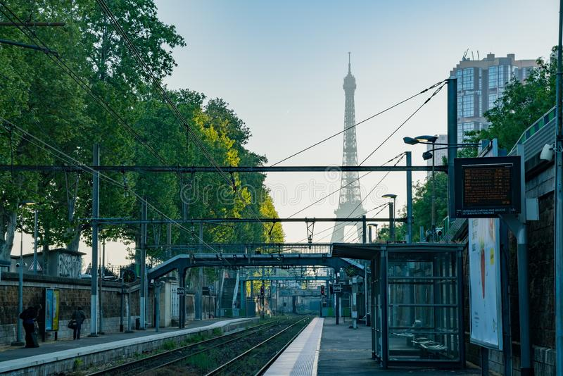Morning view of the Champ de Mars - Tour Eiffel metro station with the famous Eiffel Tower. At Paris, France stock images