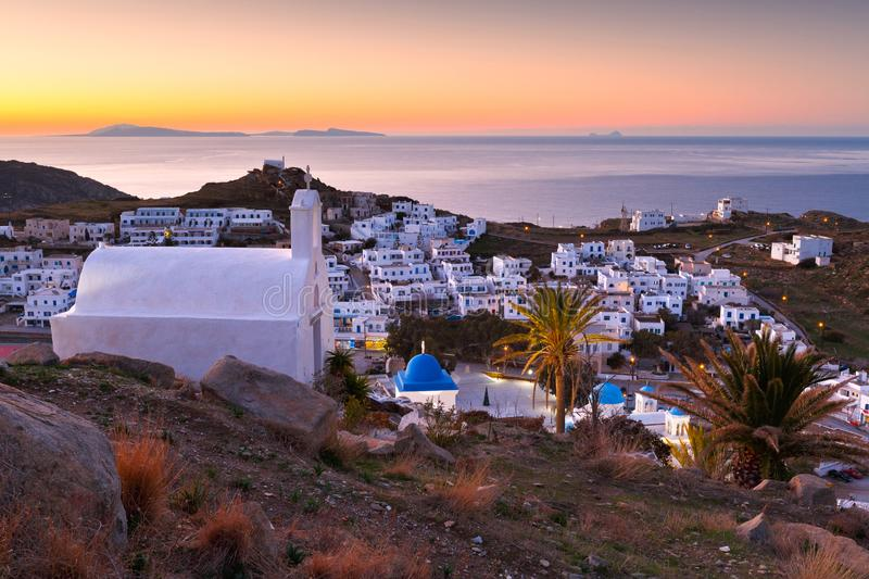 Chora, Ios. Morning view of Chora village on Ios island in Greece royalty free stock images