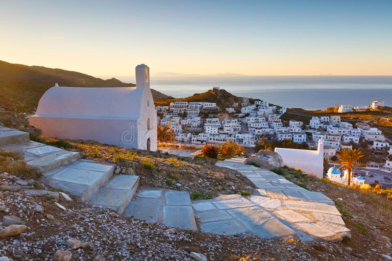 Chora, Ios. Morning view of Chora village on Ios island in Greece royalty free stock image
