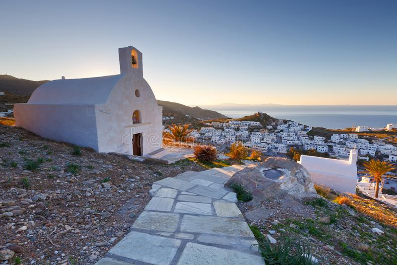 Chora, Ios. Morning view of Chora village on Ios island in Greece stock photos