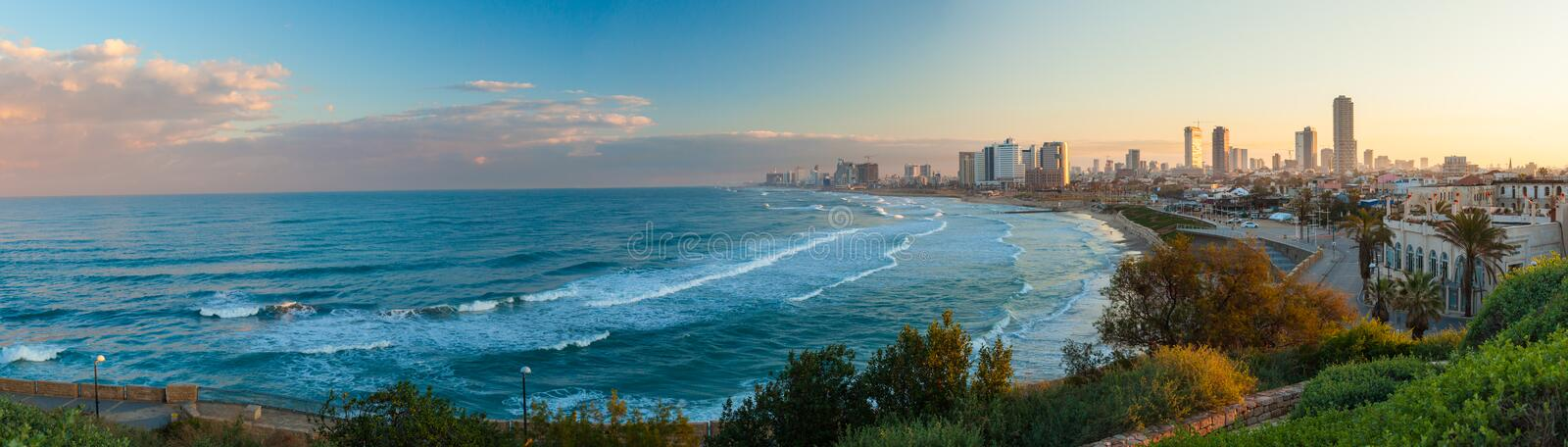 Morning view of the city from sea side stock image