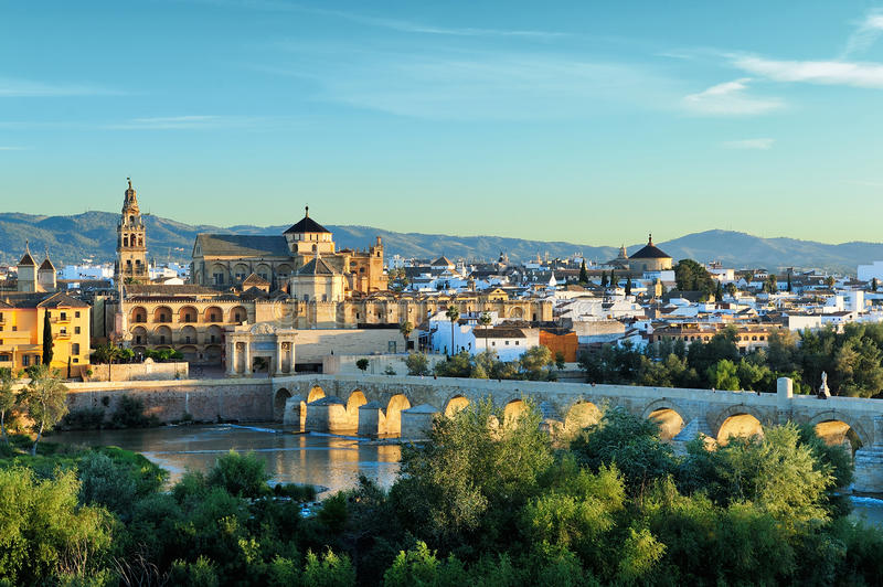 Morning view of Cordoba, Spain. Evening view of Mosque-Cathedral and Romano Bridge, Cordoba,Spain royalty free stock photos