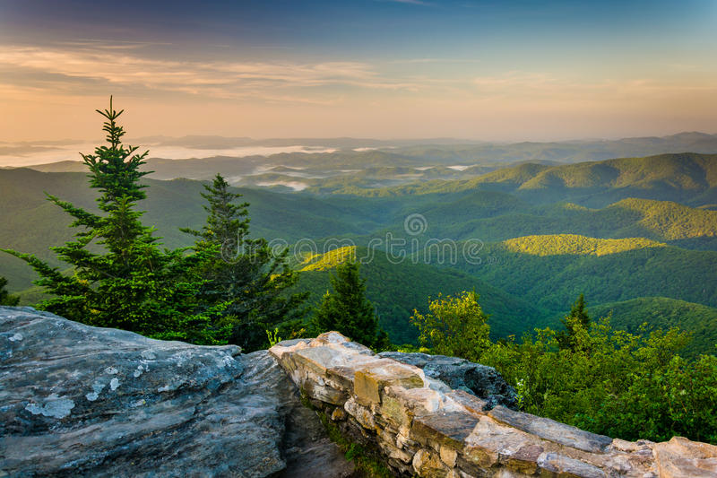 Morning view from Devil's Courthouse, near the Blue Ridge Parkwa royalty free stock image