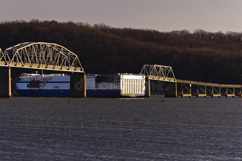Eggner`s Ferry Bridge Collapse - Kentucky Lake, Kentucky stock photo