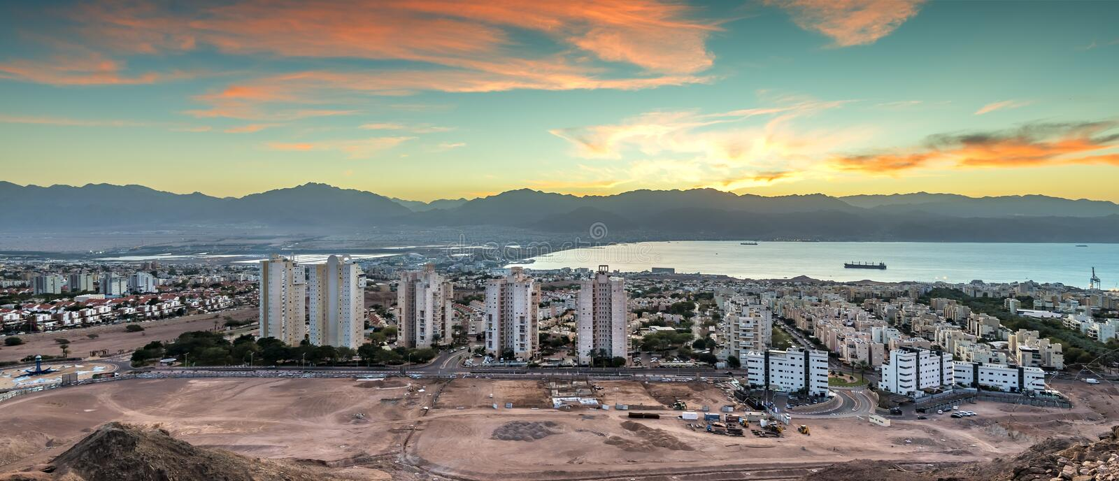 Morning view on Eilat from mountains, Israel royalty free stock photos