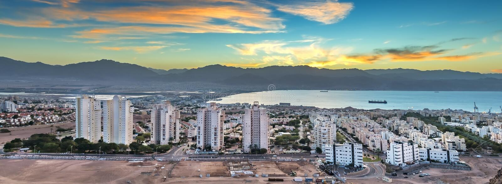 Morning view on Eilat from mountains, Israel royalty free stock photography