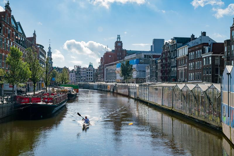 Morning view of the flower market, canal royalty free stock image