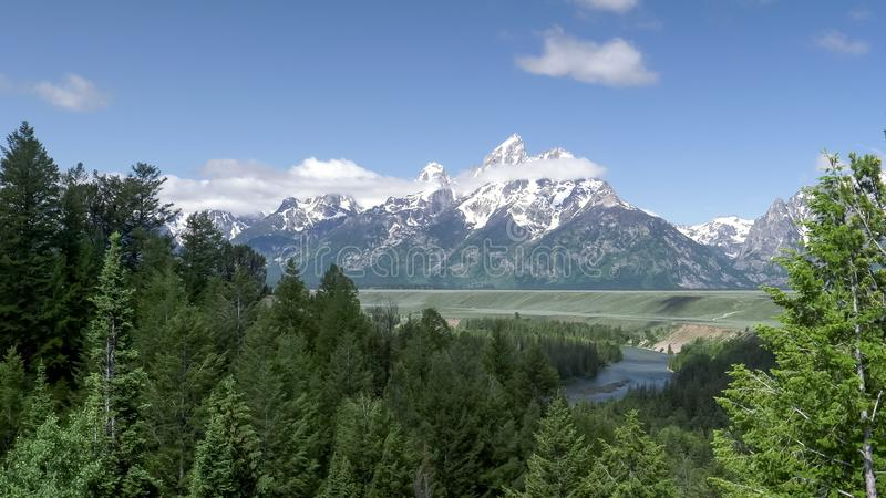 Morning view of grand teton from the snake river overlook. In grand teton national park in the united states stock photography
