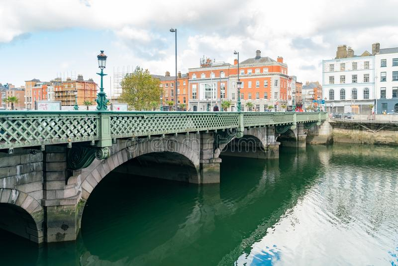 Morning view of the Grattan Bridge. Dublin, OCT 28: Morning view of the Grattan Bridge on OCT 28, 2018 at Dublin, Ireland royalty free stock image