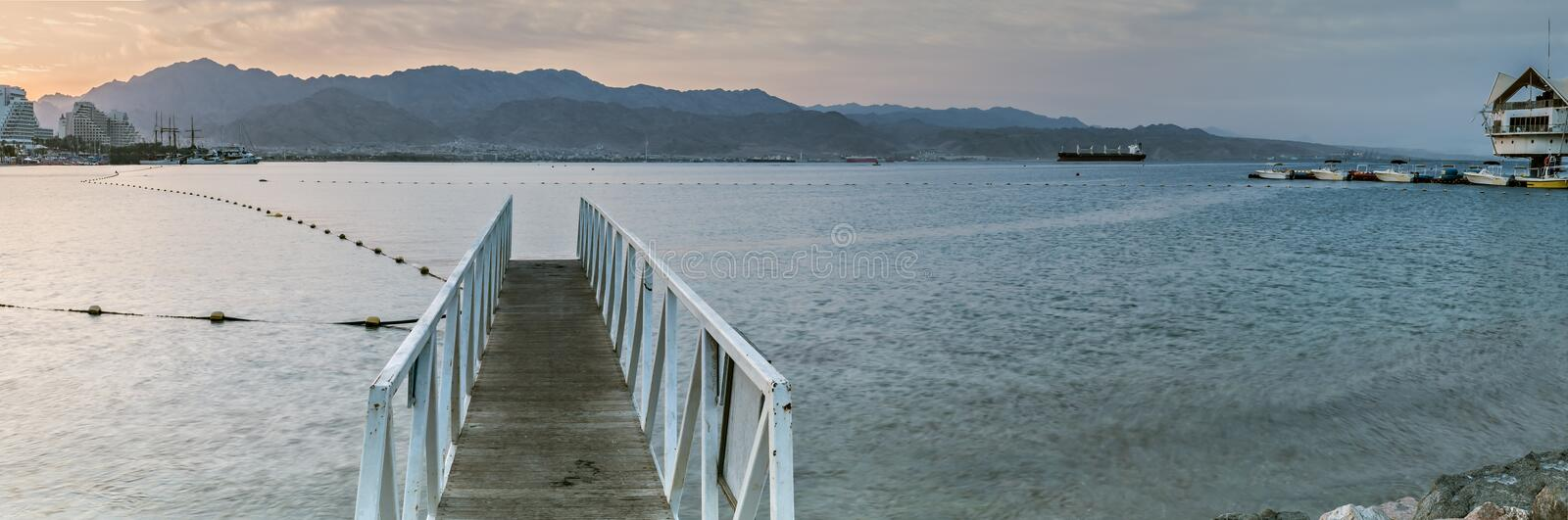 Morning view on the gulf of Aqaba near Eilat royalty free stock photos
