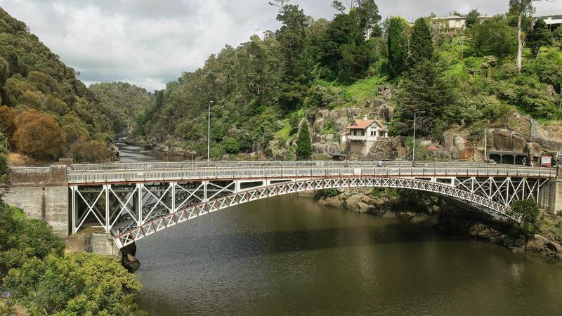 Morning view of kings bridge and cataract gorge in the city of launceston in tasmania. Australia stock images