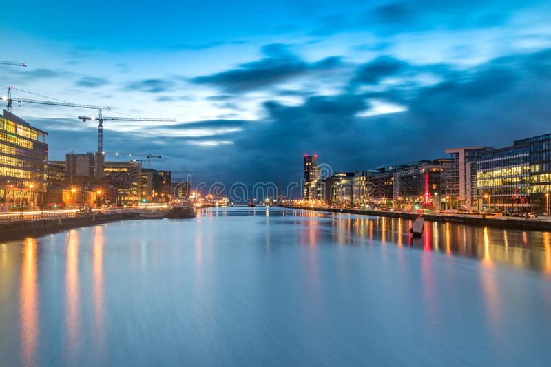 Morning view of Liffey river in Dublin, Ireland.  royalty free stock photos