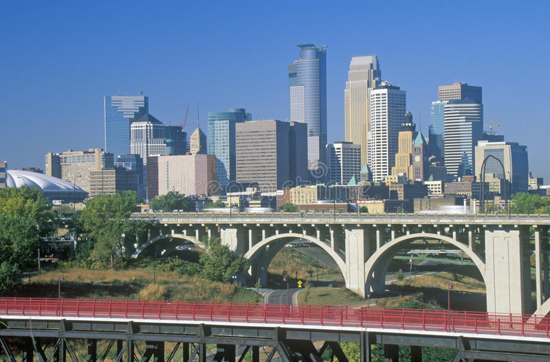 Morning view of Minneapolis, MN skyline stock images