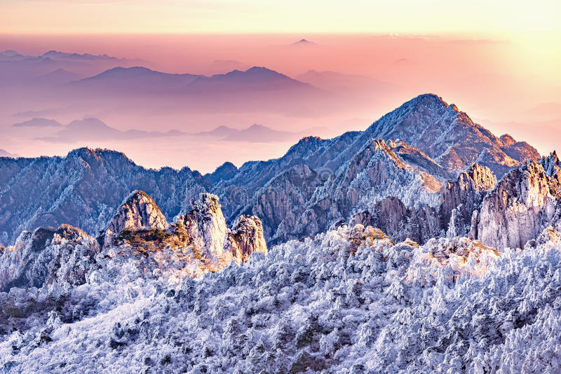 Morning view of the mountain peaks. stock photos