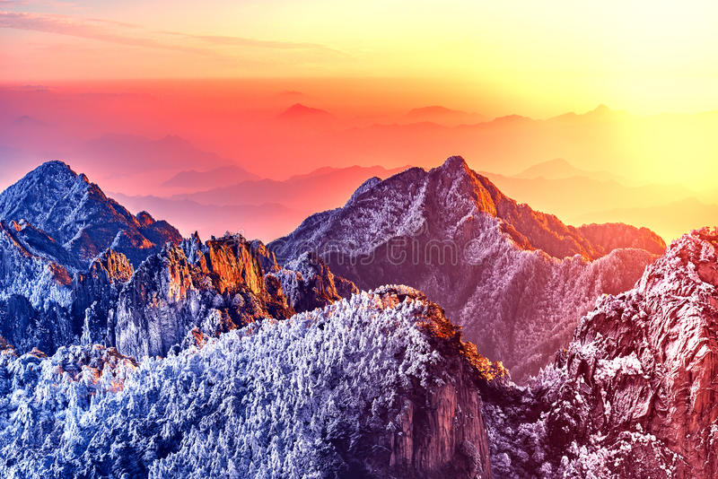 Download Morning View Of The Mountain Peaks. Stock Photo - Image: 97710274