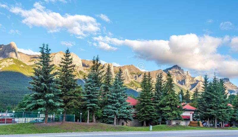 Morning view at the mountains in Canmore - Canada. CANMORE,CANADA - JULY 1,2018 - Morning view at the mountains in Canmore. Canmore is a town in Alberta - Canada stock photos
