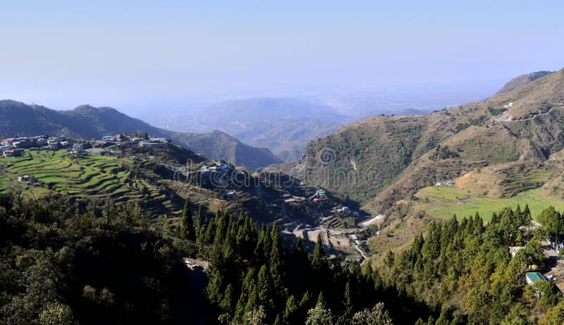 Beautiful morning view of mussoorie city stock photos