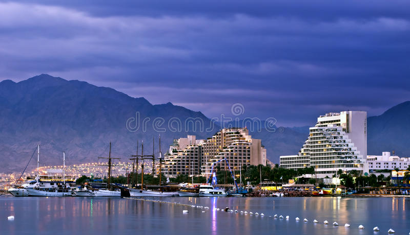 Morning view on northern beach of Eilat, Israel. Eilat is a famous resort and recreation town located on the Red Sea, Israel royalty free stock images