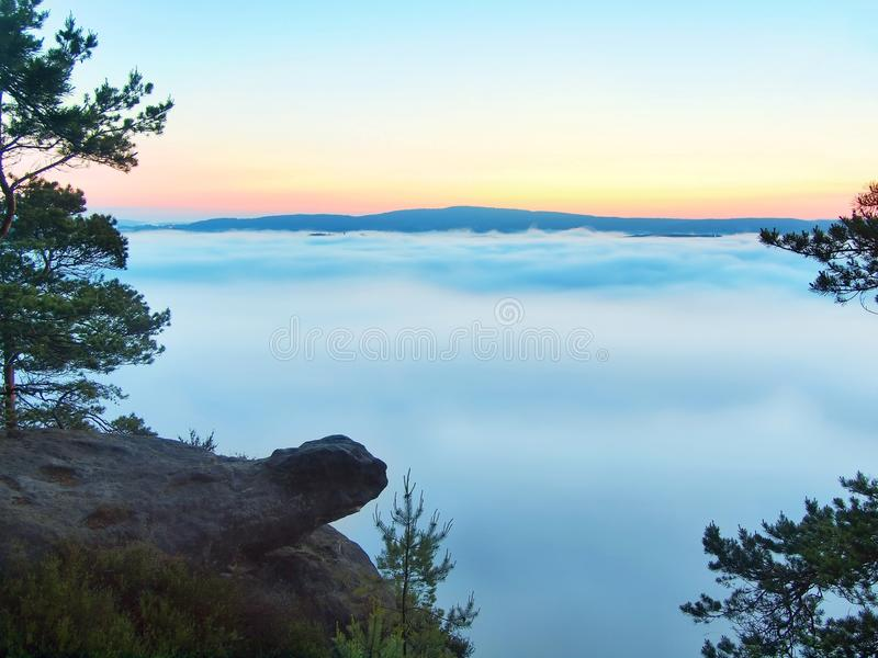 Morning view over rock and fresh green trees to deep valley full of light blue mist. Dreamy spring landscape within daybreak. After rainy night. Blue pink sky stock photo