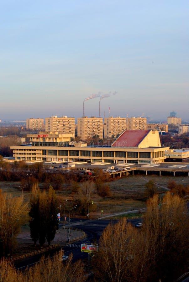 Morning view of the Palace of Culture and Creativity in Yubileinaya Street. Tolyatti, Samara region, Russia - November 01, 2018: Morning view of the Palace of royalty free stock photography
