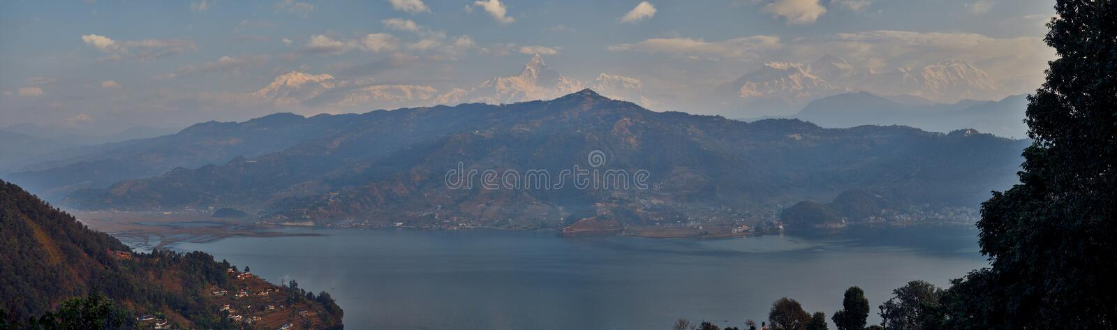 Morning view of Pokhara and Phewa lake with Himalaya mountains at the background from World Peace Pagoda in Pokhara stock photo