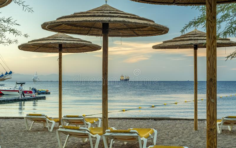 Morning at central public beach of Eilat - famous resort city in Israel royalty free stock photos