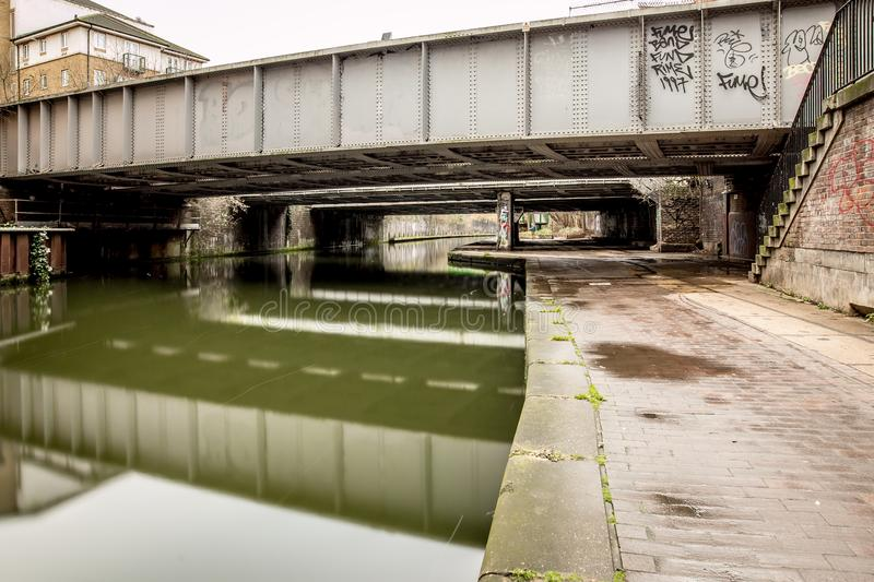 Morning view of Regents canal, London stock image